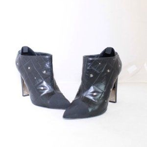 CHANEL Black Quilted Leather Booties #22039-1